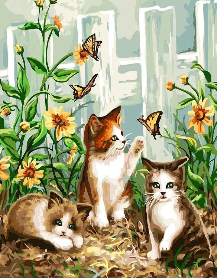 Cats playing with Butterflies - All Paint by numbers