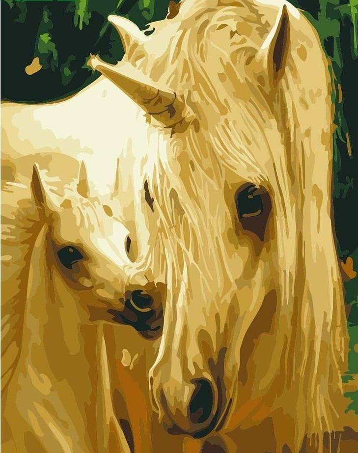 A unicorn with her baby - All Paint by numbers