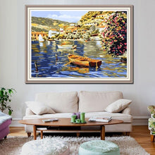 Load image into Gallery viewer, Flowers and Sailing Boat on  the River - All Paint by numbers