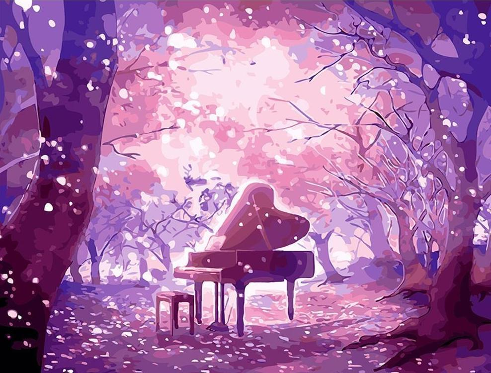 Piano Table in Purple Forest - All Paint by numbers