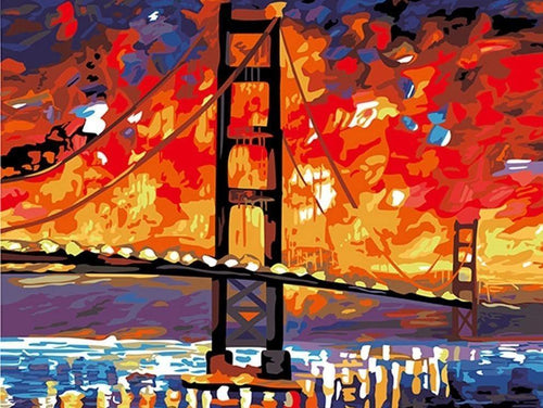 Golden Gate Bridge Paint By Numbers Kit - All Paint by numbers