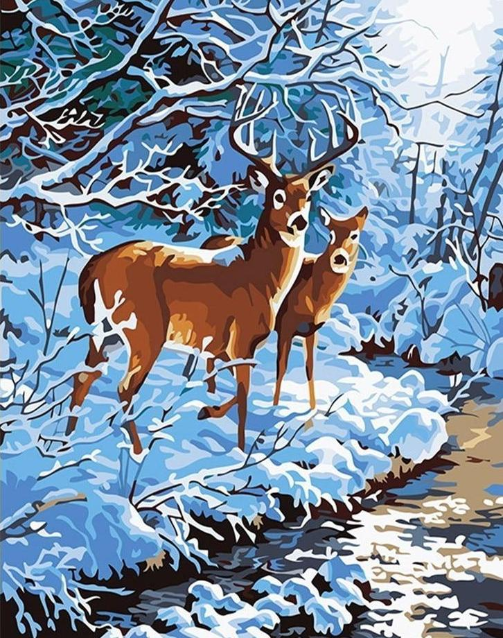 Winter, Snow & Deer - All Paint by numbers