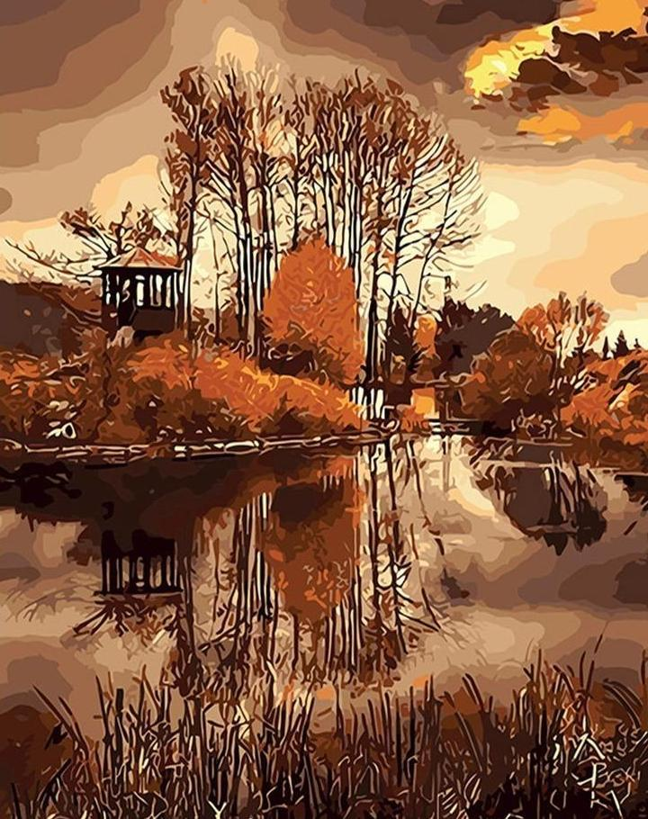 Autumn Trees & River Painting - All Paint by numbers