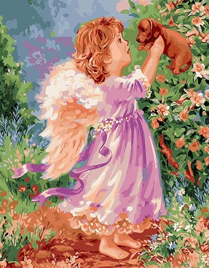 A Baby Angel playing with Puppy - All Paint by numbers