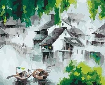 A City With Green Trees and Boats - All Paint by numbers