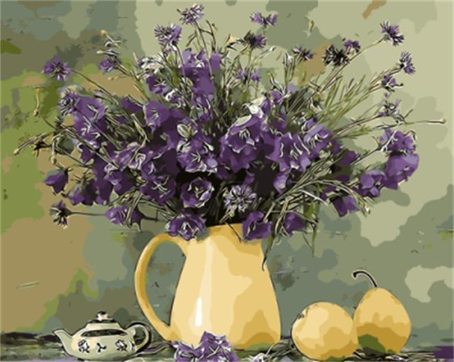 Purple Flowers in Yellow Flower Pot - All Paint by numbers
