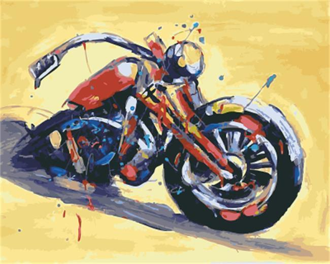 A Splashy Motor Bike - All Paint by numbers