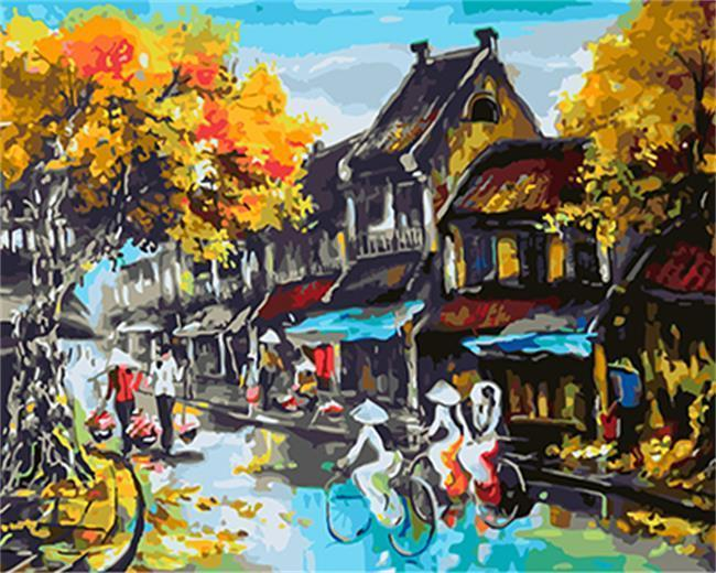 Cyclists Wandering about Streets - All Paint by numbers