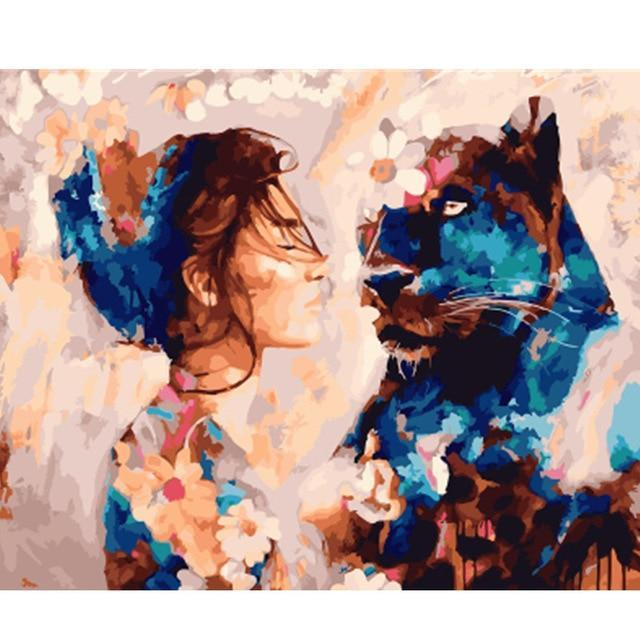 A Girl & A Black Leopard - All Paint by numbers