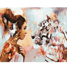 Load image into Gallery viewer, A  Lady & A Rhinoceros Fantasy - All Paint by numbers