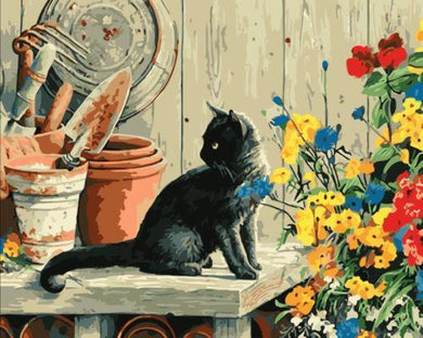 Black Cat with Flowers - All Paint by numbers
