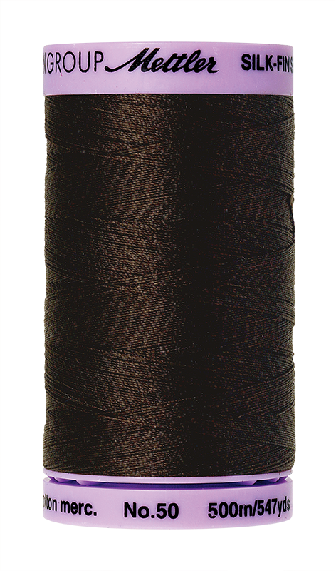 Mettler Silk-Finish Mercerized Cotton Thread, Color 1002, Very Dark Brown
