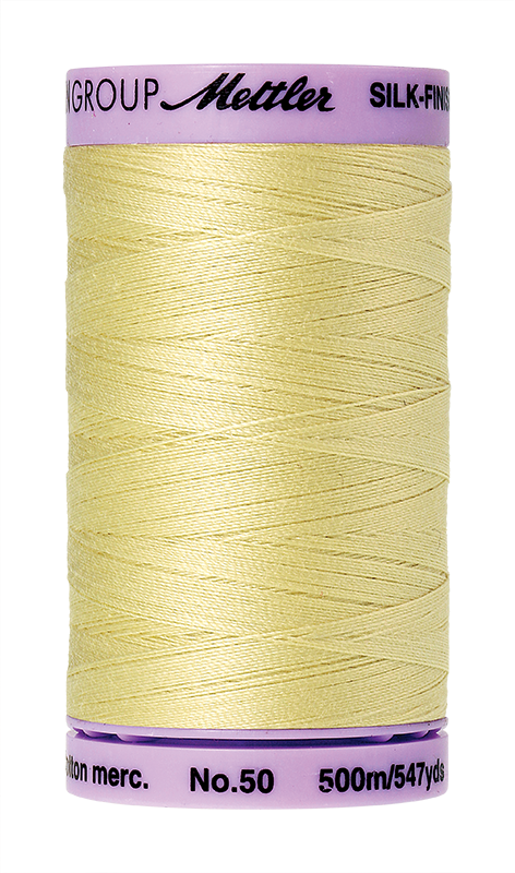 Mettler Silk-Finish Mercerized Cotton Thread, Color 1412, Lemon Frost