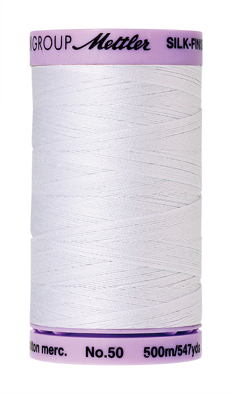 Mettler Silk-Finish Mercerized Cotton Thread, Color 2000, White