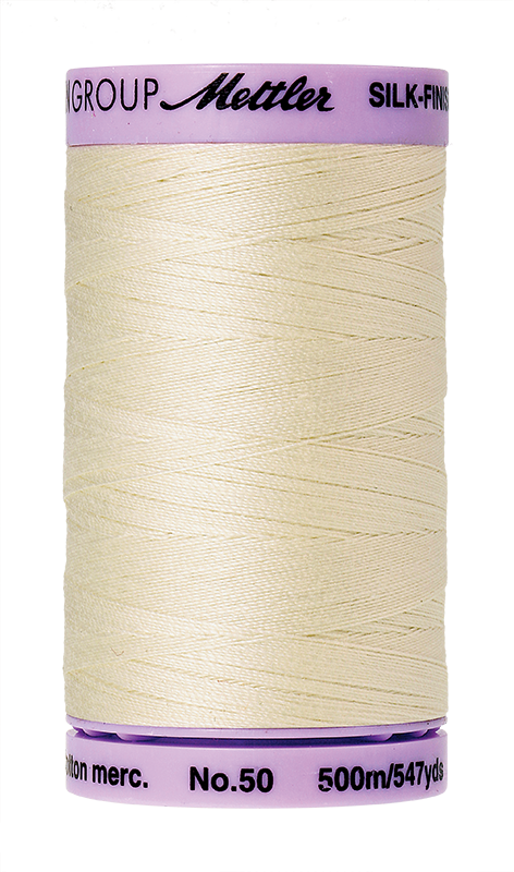 Mettler Silk-Finish Mercerized Cotton Thread, Color 3612, Antique White