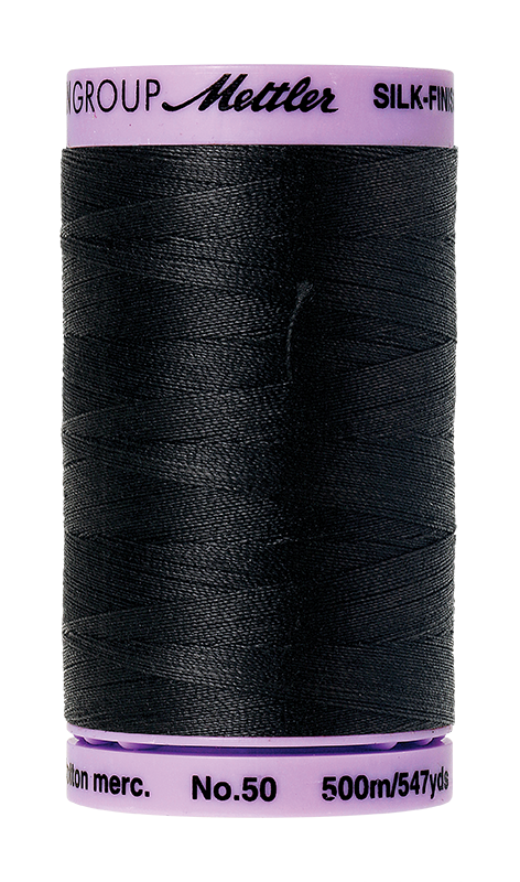 Mettler Silk-Finish Mercerized Cotton Thread, Color 4000, Black