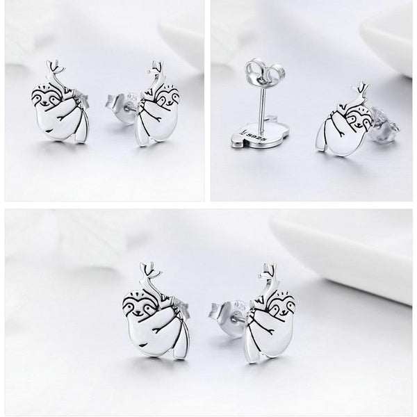 Silver Cute Sloth Stud Earrings