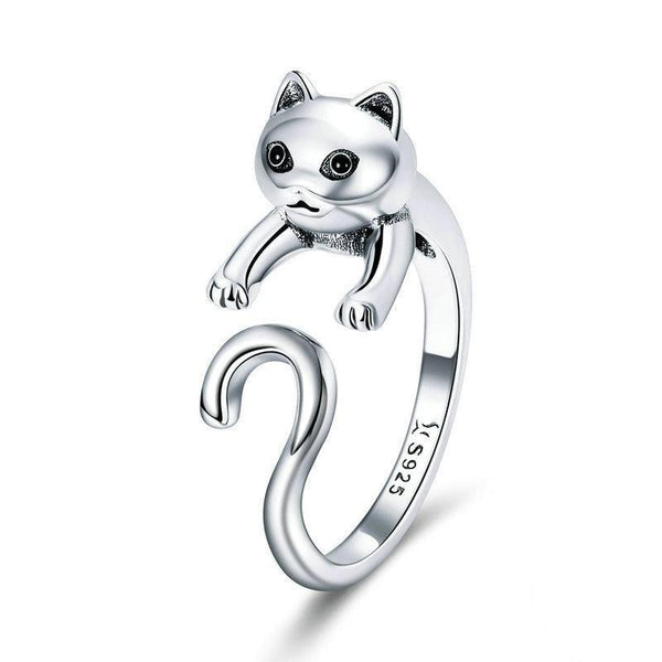 Silver Cute Cat Ring