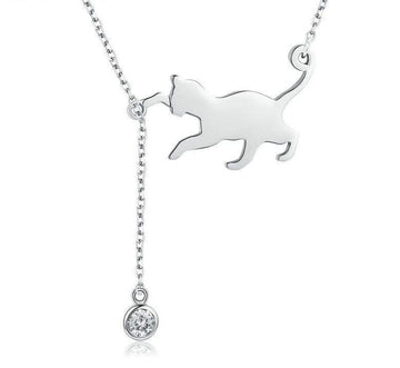 Silver Playful Cat Chains Necklace
