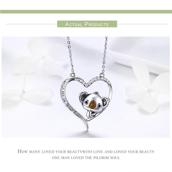 Silver Cute Koala Pendant Necklace
