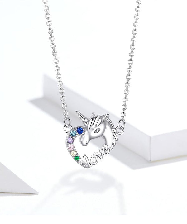 Silver Unicorn of Love Necklace