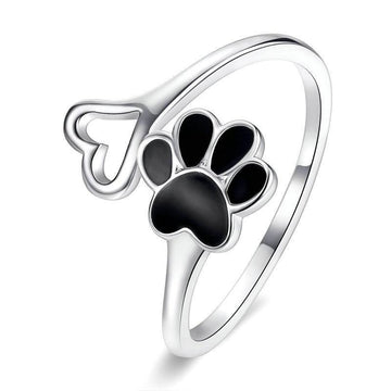 Silver Paw and Heart Ring