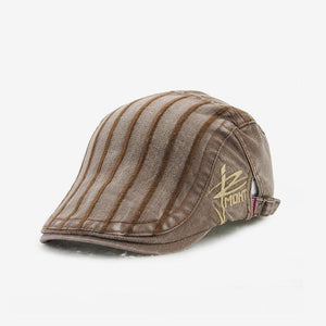 New Men's Striped Sunscreen Beret