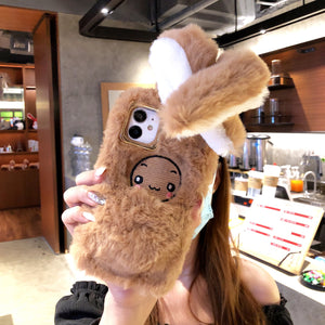 Moving rabbit ear plush phone case For Samsung