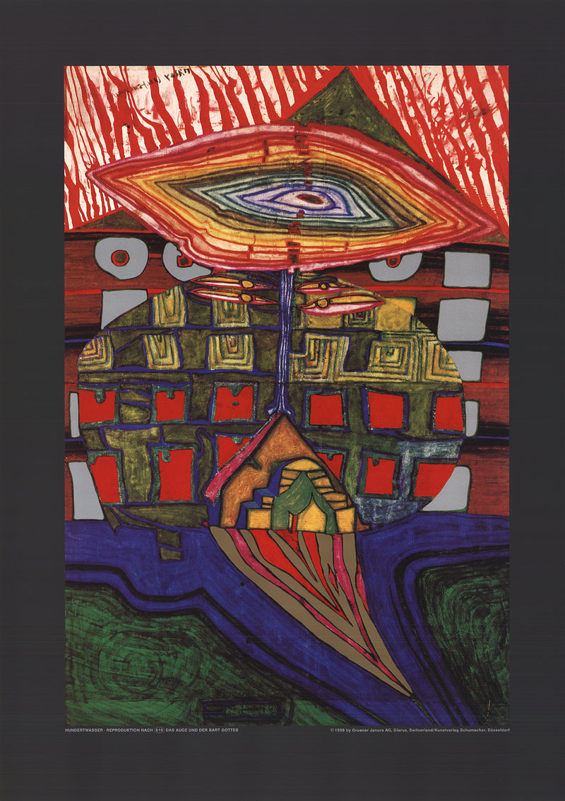 "FRIEDENSREICH HUNDERTWASSER The Eye and the Beard of God 23.25"" x 16.5"" Poster 1989 Contemporary Multicolor"