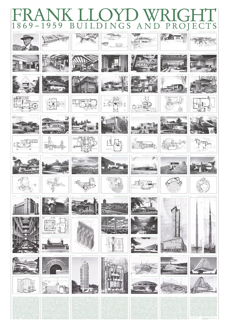 "FRANK LLOYD WRIGHT Buildings And Projects 39.25"" x 27.5"" Poster 2017 Realism Black & White"