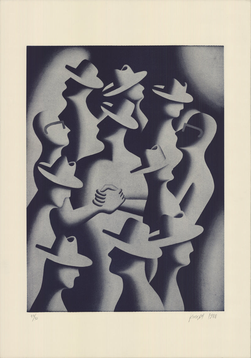 "MARK KOSTABI Merger And Acquisitions, 1988 SIGNED 39"" x 27.5"" Lithograph  1989 Outsider Art Black & White"