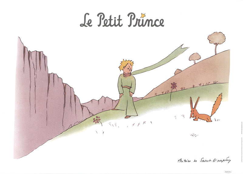 "ANTOINE DE SAINT EXUPERY The Little Prince and the Fox 19.75"" x 27.5"" Poster 2015 Modernism Brown, Green, Gray"