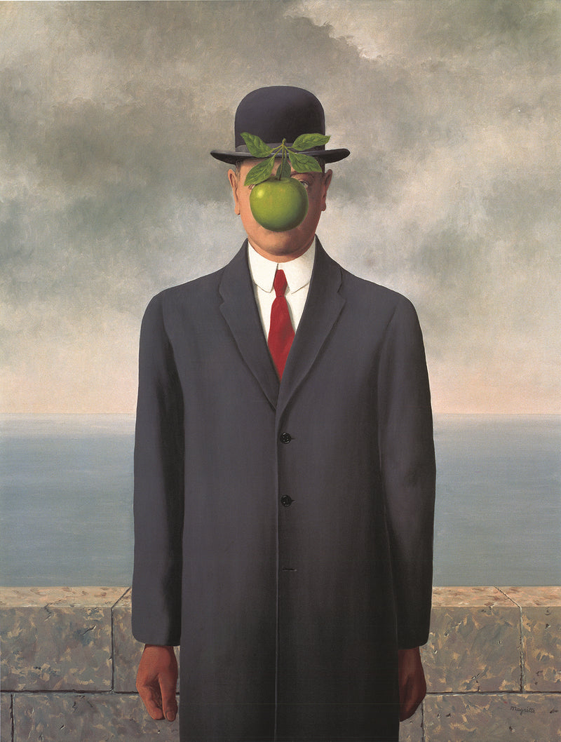 "RENE MAGRITTE Son of Man (with border) 27.5"" x 19.75"" Poster Surrealism Green, Gray, Red, White"
