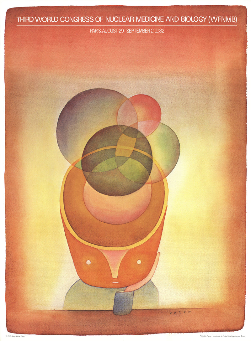 "JEAN-MICHEL FOLON Third World Congress of Nuclear Medicine and Biology (WFNMB) Paris 22"" x 16"" Poster 1982 Surrealism Mu"