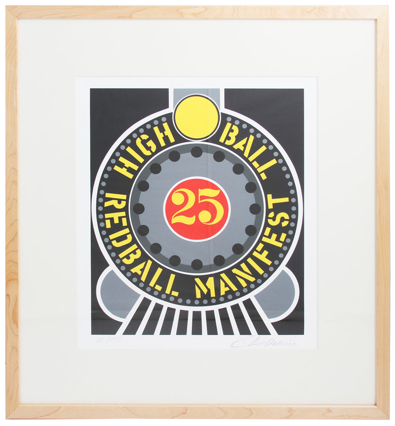 "ROBERT INDIANA Highball on the Redball Manifest SIGNED 18.5"" x 16"" Serigraph 1997 Pop Art Multicolor, Gray, Yellow Silks"
