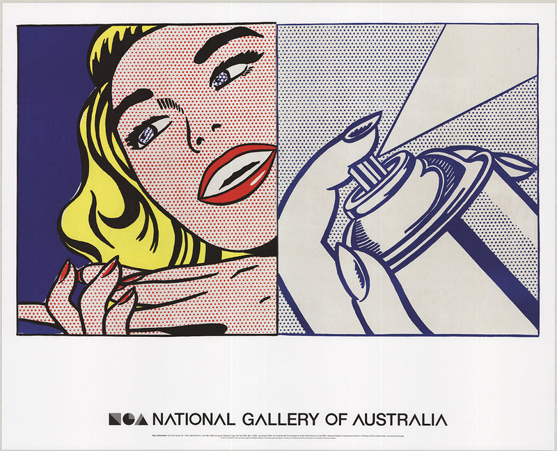 ROY LICHTENSTEIN Girl and Spray Can 23.25 x 29 Poster 2013 Pop Art Multicolor, Red, Blue