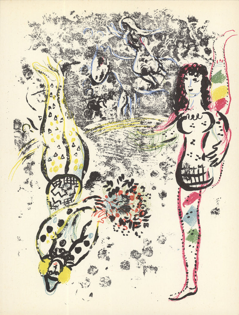"MARC CHAGALL Acrobatics 12.5"" x 9.5"" Lithograph 1963 Modernism Multicolor"