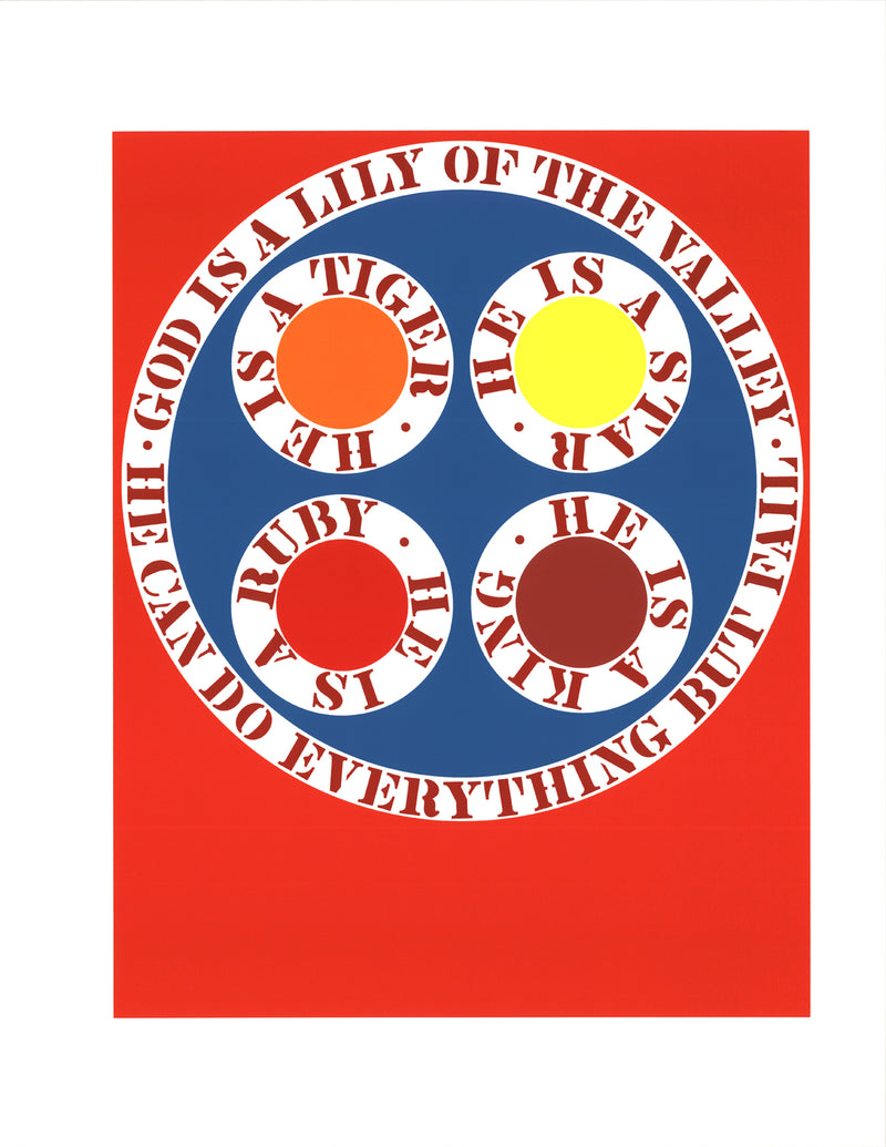 "ROBERT INDIANA God Is Lily of the Valley 22"" x 17"" Serigraph 1997 Pop Art Multicolor, Red, Blue Protest, Silkscreen"