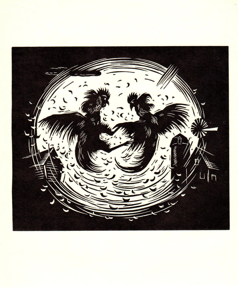 "GERHARD H. BAKKER Cock Fight 9.25"" x 9"" Woodblock 1938 Modernism Black & White"