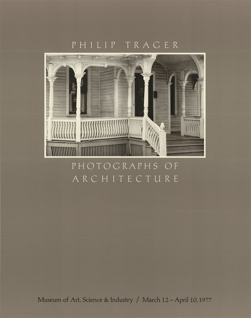 "PHILLIP TRAGER Photographs of Architecture 20"" x 15.75"" Poster 1977 Gray"