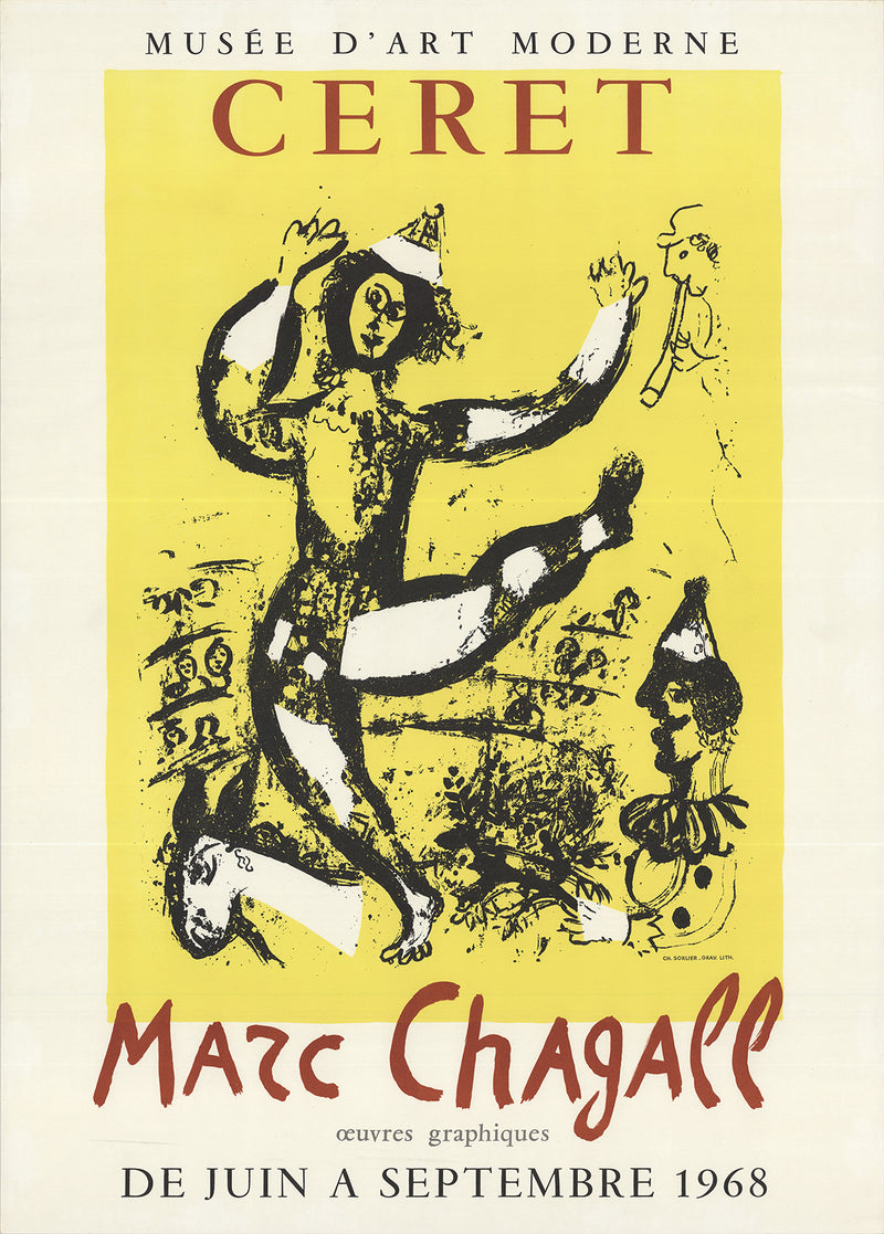 "MARC CHAGALL The Circus 28"" x 20"" Lithograph 1968 Modernism Multicolor, Yellow"