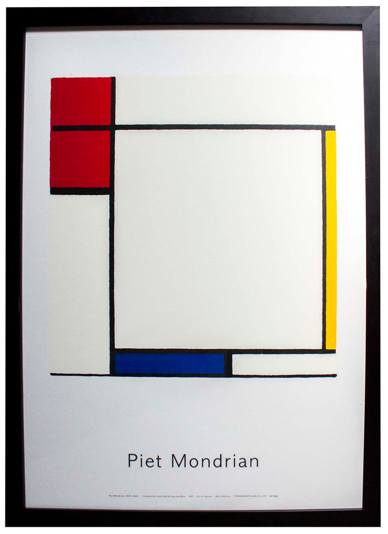 PIET MONDRIAN Composition with Red, Yellow, and Blue 29.5 x 21.5 Serigraph Modernism Multicolor Silkscreen, Frame