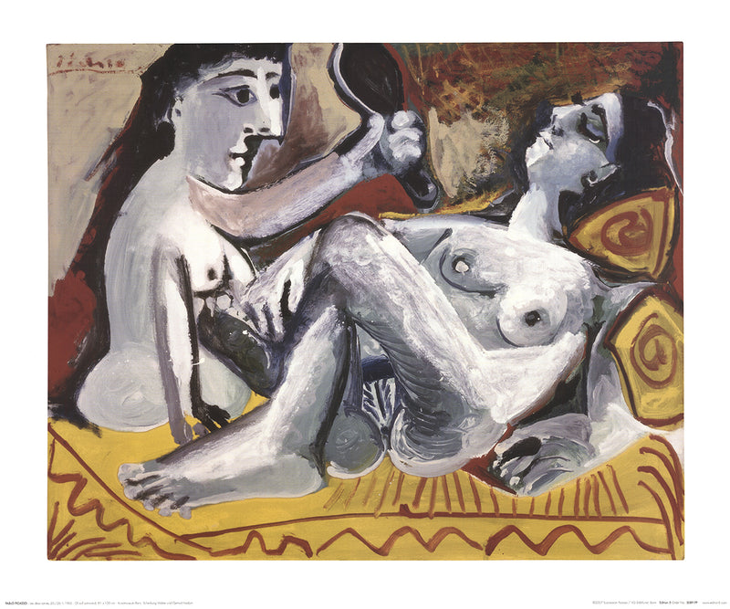"PABLO PICASSO The Two Friends 19.75"" x 23.5"" Poster 2007 Cubism Gray, Yellow"