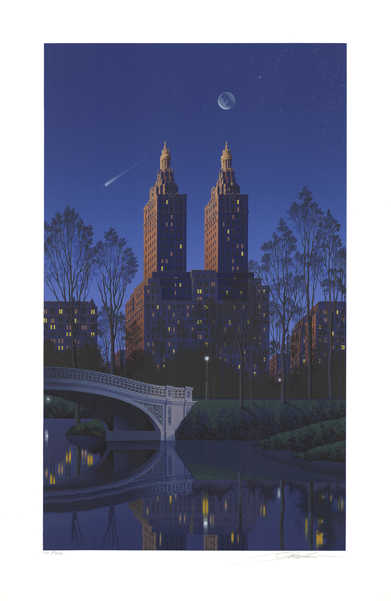 "JIM BUCKELS San Remo, New York SIGNED 40"" x 26"" Serigraph 1994 Blue Silkscreen"