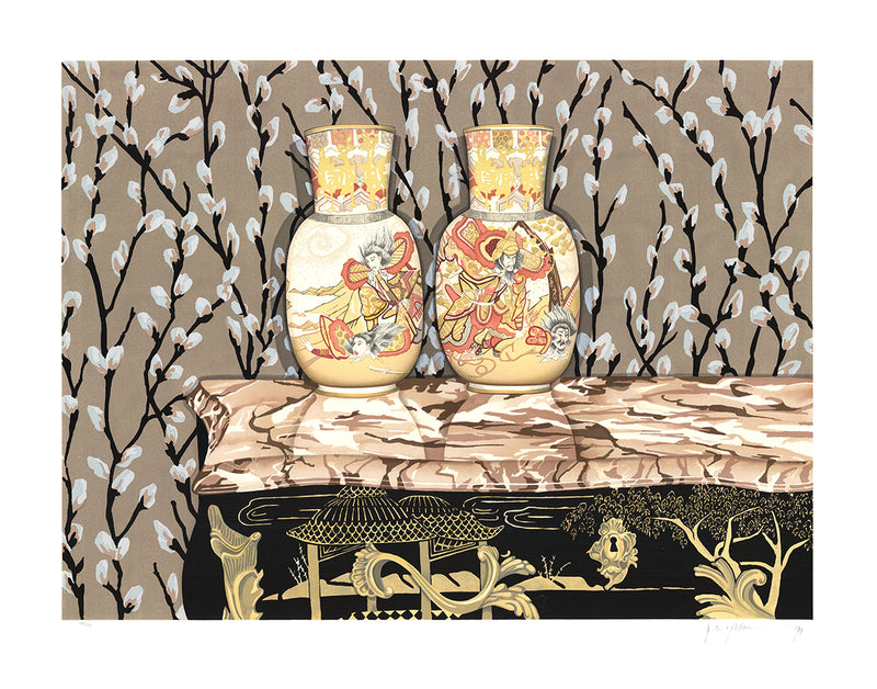 "P.S. GORDON Satsuma Vases SIGNED 29.75"" x 37.5"" Serigraph 1992 Contemporary Brown Silkscreen"