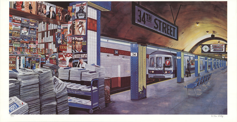 "KEN KEELEY F train at 34th Street, New York SIGNED 26"" x 50"" Serigraph 1987 Gold, Blue, White, Gray, Red Silkscreen"