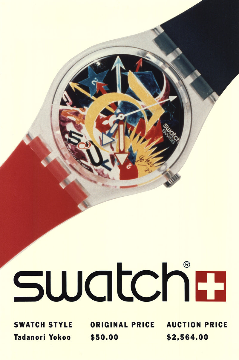 "TADANORI YOKOO Swatch: Tadanori Yokoo-Rorrim 5 60"" x 40"" Poster 1989 Advertising Yellow, Red, Multicolor"