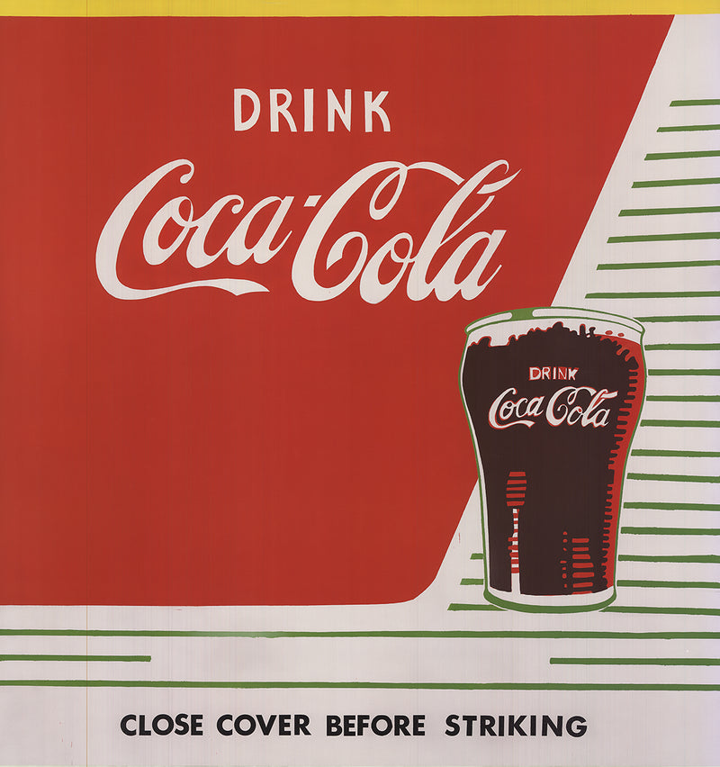 "ANDY WARHOL Close Cover Before Striking 43"" x 41"" Poster 2013 Pop Art Red, White Drink, Soda, Glass"