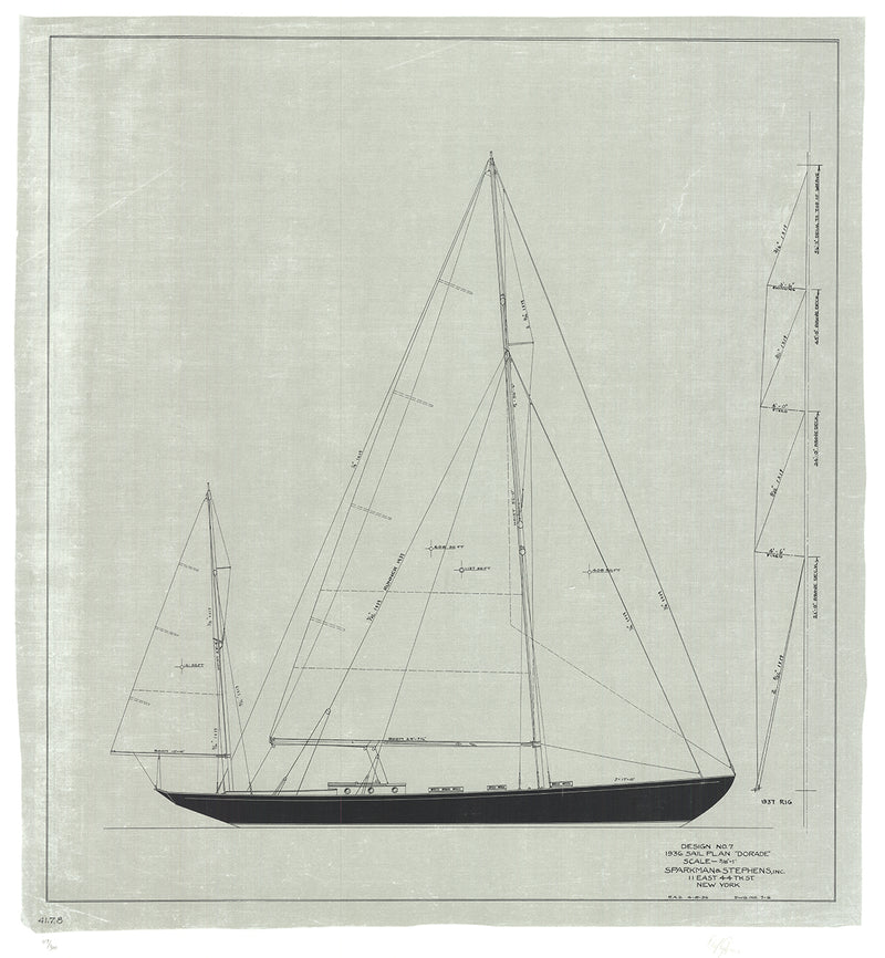 "OLIN STEPHENS Dorade: Sail Plan, 1936 SIGNED 32.25"" x 30"" Serigraph 2004 Contemporary Black & White Boats, Ships, Bluepr"
