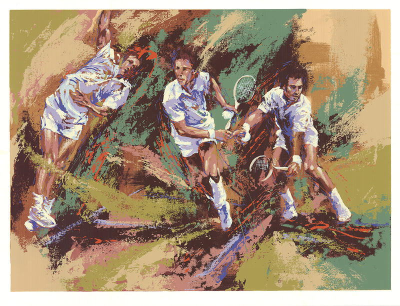 "WAYLAND MOORE Tennis Legends 28"" x 37"" Serigraph 1981 Expressionism Multicolor Players, Racket, Men, Woman, Silkscreen"